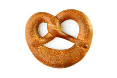 Pretzel on a white background. Top view Royalty Free Stock Photo