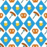Pretzels το λουκάνικο μπύρας παράταξε το άνευ ραφής διανυσματικό σχέδιο απεικόνισης Pretzel μπύρας λουκάνικα σε μια σειρά Μπλε κα Στοκ φωτογραφία με δικαίωμα ελεύθερης χρήσης