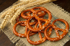 Pretzels. Isolated on wooden table Stock Photography