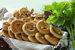 Pretzels arrangement in a basket Royalty Free Stock Photography