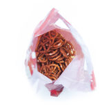 Pretzels bag. On white background Royalty Free Stock Images