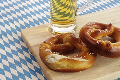 Pretzels and beer Stock Photos
