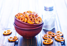 Pretzels. For beer in the bowl on a table Royalty Free Stock Image