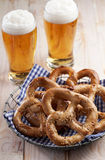 Pretzels and beer Stock Photography