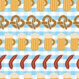 Pretzels beer sausage seamless vector pattern tile royalty free illustration