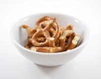 Pretzels in bowl. Bowl of crunchy hard snack pretzels Stock Photos