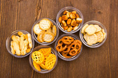 Pretzels in bowls on wood from above Stock Photos