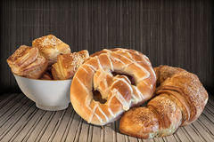 Pretzels With Bunch Of Freshly Baked  Sesame Croissant Puff Pastry Served On Bamboo Place Mat Stock Image