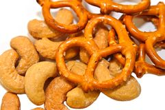 Pretzels and Cashew Nuts Stock Photos