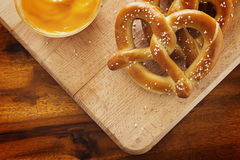Pretzels and Cheese Stock Photography
