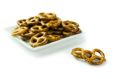 Pretzels. Close up of pretzels on the white plate Royalty Free Stock Photography
