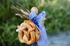 Pretzels decorating Octoberfest Royalty Free Stock Photography