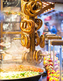 Pretzels and food at German Christmas Market Royalty Free Stock Images
