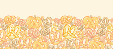 Pretzels horizontal seamless pattern background Royalty Free Stock Photo