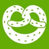 Pretzels icon green. Pretzels icon white isolated on green background. Vector illustration Royalty Free Stock Photos