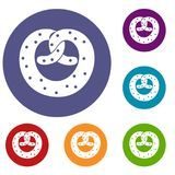 Pretzels icons set Royalty Free Stock Image