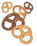 Pretzels. An illustration of delicious salted pretzels on a white background Royalty Free Stock Photo