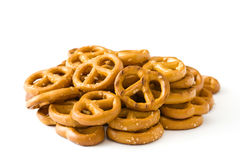 Pretzels  isolated. Salted Pretzels isolated on white background.copyspace Stock Photos