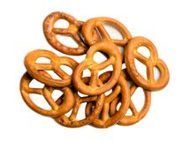 Pretzels isolated top view Stock Photo