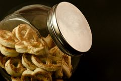 Pretzels in a jar Royalty Free Stock Photos