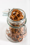 Pretzels in a jar Stock Photography