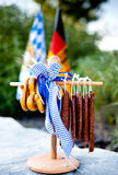 Pretzels and landjaeger for Octoberfest Stock Images