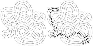Pretzels maze. For kids with a solution in black and white Royalty Free Stock Image