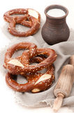 Pretzels with milk Royalty Free Stock Image