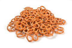 Pretzels. A mound of salted pretzels on a white background Stock Photos