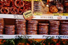 Pretzels and other bakery products for sale at Christmas market in Bolzano, Italy royalty free stock image