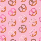 Pretzels pattern. Cute pink pretzels seamless pattern vector illustration