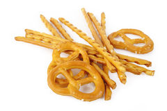 Pretzels and salt sticks Royalty Free Stock Image