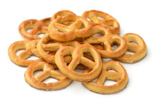 Pretzels. Salted pretzels isolated on white Royalty Free Stock Photos