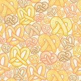 Pretzels seamless pattern background Royalty Free Stock Photos