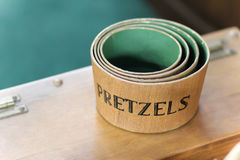 Pretzels. Shaker type nesting pretzel bowls with a green interior Royalty Free Stock Photography