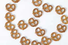 Pretzels in shape of pretzel. Pretzels displayed in shape of pretzel. shot from above Stock Photos