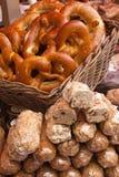 Pretzels and sweet bakeries on the matket Stock Photos