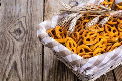Pretzels traditional German pastries on a wooden background Stock Images