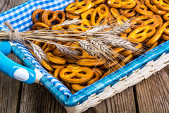 Pretzels traditional German pastries on a wooden background Stock Photo