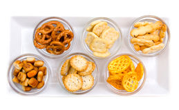 Pretzels on tray from above Stock Image