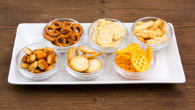 Pretzels on tray on wood Royalty Free Stock Images