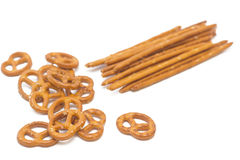 Pretzels on white. Assorted shape of pretzels,  on white background Stock Image