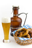 Pretzels with white beer Royalty Free Stock Image