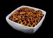Pretzels in a white bowl Stock Photo