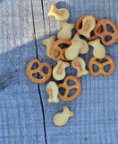 Pretzels on a wooden background Stock Photos