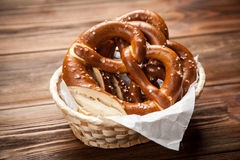 Pretzels on wooden table Royalty Free Stock Photo