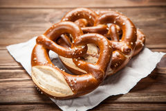 Pretzels on wooden table Royalty Free Stock Photography
