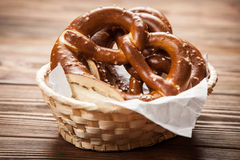 Pretzels on wooden table Royalty Free Stock Image