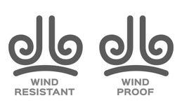 Preuve de vent et vecteur résistant d'icône images libres de droits