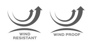 Preuve de vent et vecteur résistant d'icône image stock